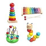 4 Sets Juguetes educativos para la Primera Infancia Arpa de Mano Niño Niña Juguete Musical para bebés Xilófono de Madera de 8 Notas para Edades de 0 a 3 niños pequeños, 9.44 x 5.11 Pulgadas