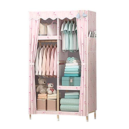 Big Save! PENG Hanging Wardrobe Solid Wood Cloth Wardrobe Fabric Assembly Single Dormitory Steel Pip...