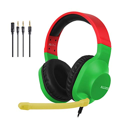 SADES Stereo Gaming Headset -Spirits- Headphones with Noise-Reduction Microphone & Control-Remote for PC Computers Laptop PS4 New Xbox One Cellphones Tablets - Rasta