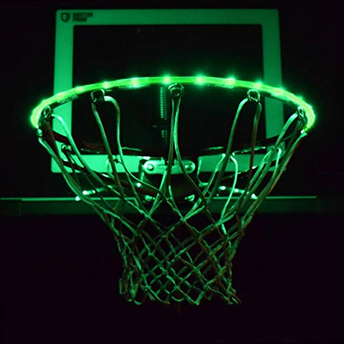 GlowCity LED Basketball Hoop Lights – Glow-in-The-Dark Rim Lights Full Size – Super-Bright to Play Longer Outdoors, Ideal for Kids, Adults, Parties and Training (Green)