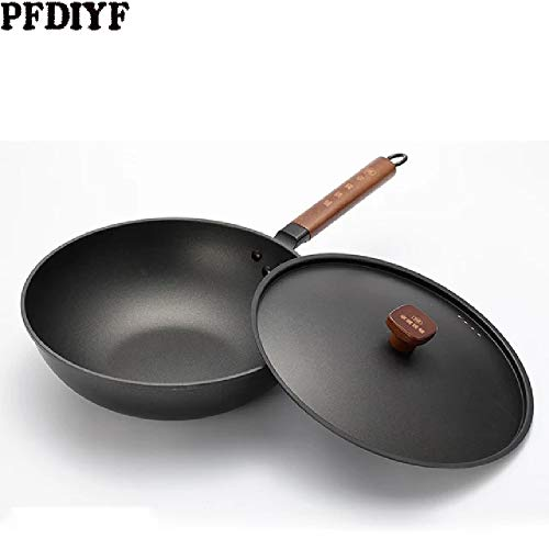 Review 30cm Chinese Iron Pot Household Traditional Handmade Iron Wok Without Oil Smoke Uncoated Non-...