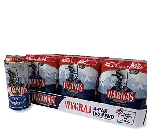 12 Dosen 500 ml Harnas helles Vollbier mit 6% Alc. Bier aus Polen