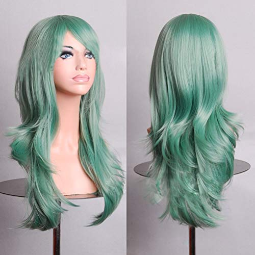 BERON 24 Inches Green Wig Long Wavy Wig Mint Green Wig for Women Heat Resistant Synthetic Hair Light Green Wig with Bangs Green Cosplay Party Wig (Mint Green)