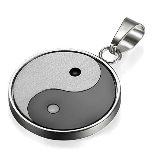Flongo Yin Yang Colgante de Hombre Collar Acero Inoxidable, Negro Blanco Colgante Amuleto para Buena Suerte Cadena 55cm, Regalo Original de Navidad
