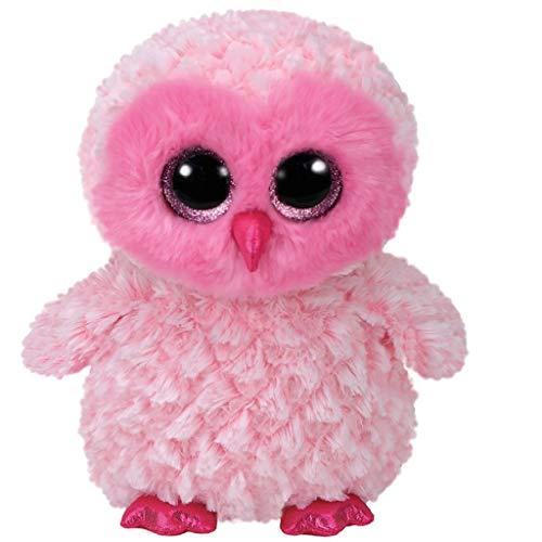 TY 36858 Owl Twiggy, Eule pink/weiß 42cm, mit Glitzeraugen, Glubschi's, Beanie Boo's, Rosa