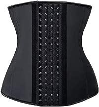 SHAPERX Women's Waist Trainer Corsets Latex Waist Cincher Body Shaper Sports Girdle Weight Loss, (Black, Meduim)