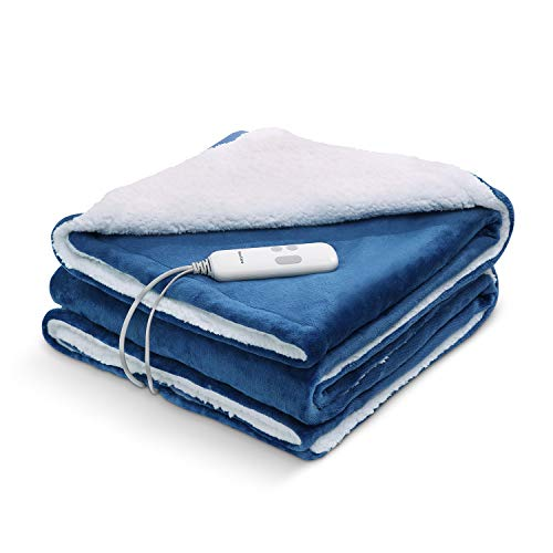 Electric Heated Blanket 130 x 180cm Reversible Flannel & Shu Velveteen Throw Luxurious Single Over Blanket for Sofa Bed Machine Washable with 3 Hours Timer Control and 6 Heating Settings