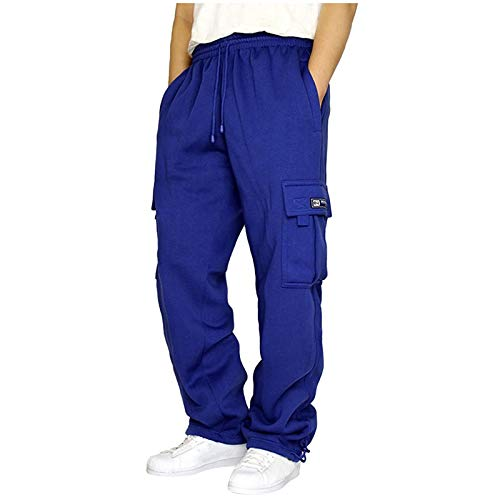 Litetao Men's Sweatpants with Pockets, Solid Fleece Heavyweight Cargo Pants Long Overalls Casual Hip Hop Exercise Running Workout Sports Pants (Blue, M)