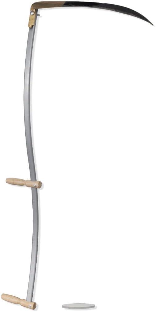 Lechnical Guadaña para Hierba con Piedra de afilar Hoz de Aluminio en Forma de Media Luna de 140 cm
