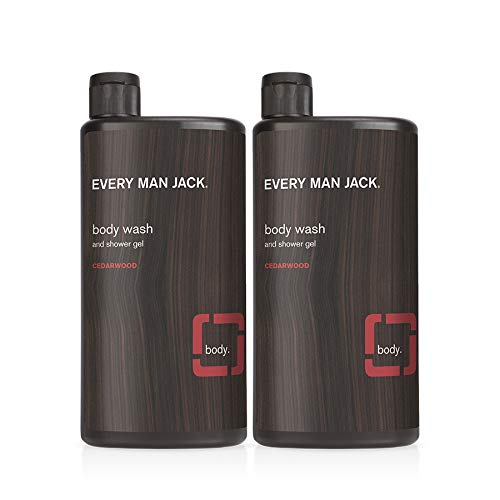 Every Man Jack Men's Body Wash - Cedarwood | 16.9-ounce Twin Pack - 2 Bottles Included | Naturally Derived, Parabens-free, Pthalate-free, Dye-free