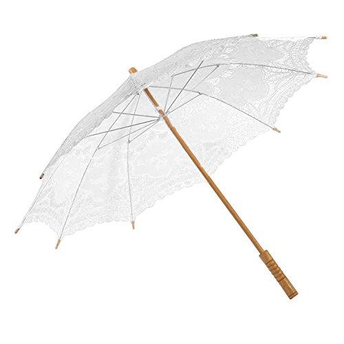 Wingbind Sun Sonnenschirm Spitze Regenschirm Foto Requisiten für Hochzeit Handgemachte Holzgriff Fotoshooting Cosplay Braut Party Dekoration