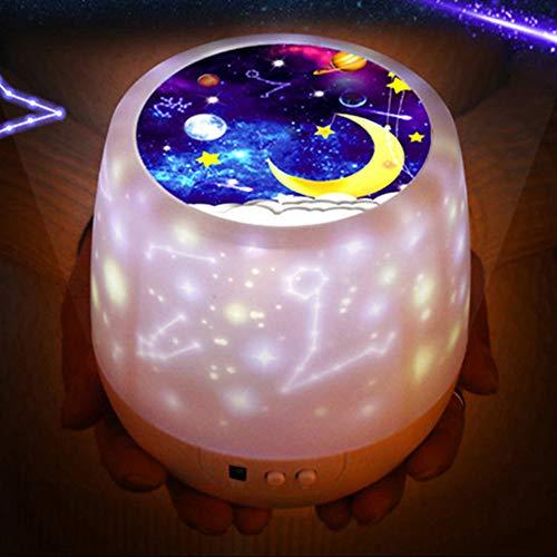 AJAC Starry Sky LED-projector, nachtlampje, ster, maan, projector, kleurrijke lamp, voor slaapzak, opladen, voor baby, kinderen, cadeau