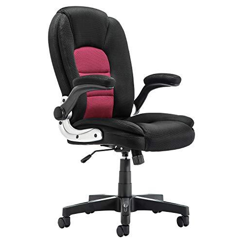Sedia da ufficio in rete e pelle PU per il tavolo del computer, sedia girevole ergonomica, con braccioli pieghevoli Colore: rosso