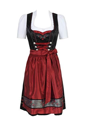 Spieth & Wensky - Damen Trachten Dirndl, Elvira-Dirndl mittel (271282-1103), Größe:48, Farbe:Schwarz/D.rot/Eisen (5087)