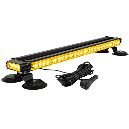 """ASPL 29.5"""" 54 LED Strobe Light Bar Double Side Flashing High Intensity Emergency Warning Flash Strobe Light with Magnetic Base for Safety Construction Vehicles Tow Trucks Pickup (Amber)"""