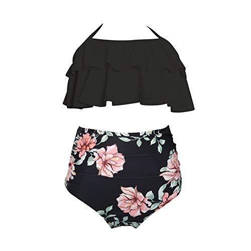 Yudesun Damen Mädchen Bademode Bikini Sets - Mutter Tochter Halfter Rüsche hoch tailliert Familie Eltern-Kind Badeanzug Beachwear Schwarz 6-8 Jahre alt