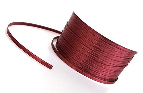 Satinband 50m x 3mm WEINROT - BORDEAUX Schleifenband Geschenkband DEKOBAND