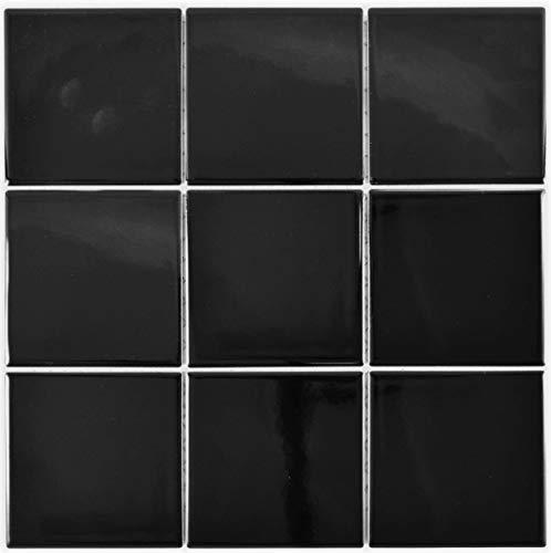 Mosaik Fliese Keramik schwarz glänzend Kacheln Wandfliesen Badfliese MOS23-0301