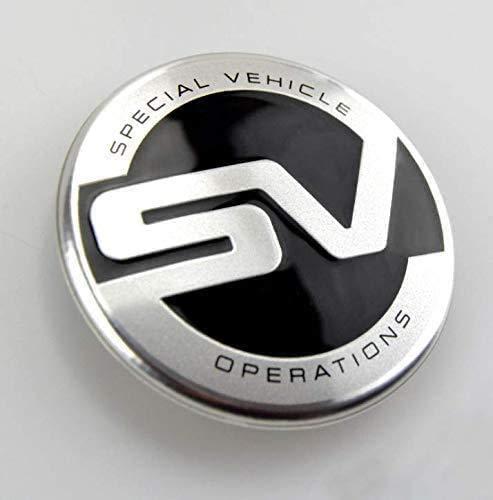 BGQ Cubiertas de Tapas de Centro de Cubo de Rueda de automóvil 60MM para Range Rover SV Cubiertas de Emblema de Insignia de Repuesto Cubiertas Decorativas de Rueda de Coche 4 Piezas