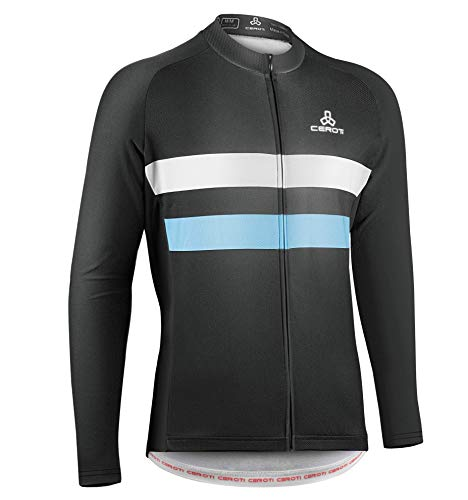 CEROTIPOLAR Men's Thermal Long Sleeve Cycling Jersey, Bike Jersey,Jacket with 3 Pockets