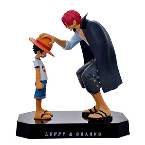 yuhiugre Figurines d'action One Piece Anime Chapeau de Paille Luffy Shanks Ornements de Cheveux Roux Cadeau Jouets de Poupée 17.5cm Enfant Luffy Modèles PVC Collection