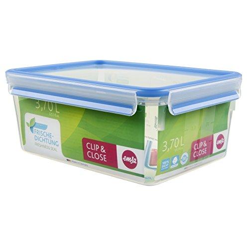 Emsa 508546 Rechteckige Frischhaltedose mit Deckel, 3.7 Liter, Transparent/Blau, Clip & Close