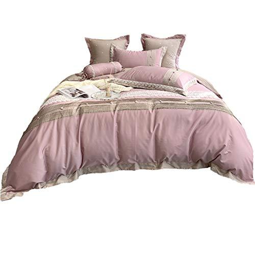 DYXYH Washed Baumwollbettwäsche Set Bettbezug Kissenbezüge Wohnung/angebracht Bettwäsche/Bettrock Optionale romantische Prinzessin Bettwäsche (Size : 1.8M)