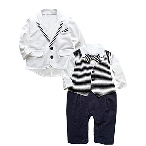 Taoytou 2pcs Garçon Gentleman Vêtements Set Cravate Mignonne Noeud Papillon Bébé Barboteuse Manteau (18-24 M)