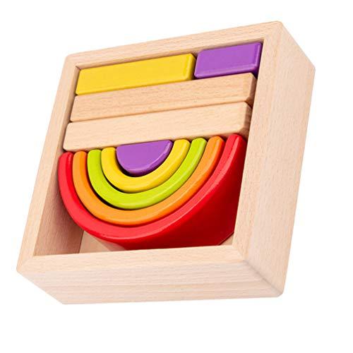Toddmomy Rainbow Stacker Blocos de encaixe, túnel de madeira, jogo de montagem, formato de cor, brinquedo Montessori para crianças