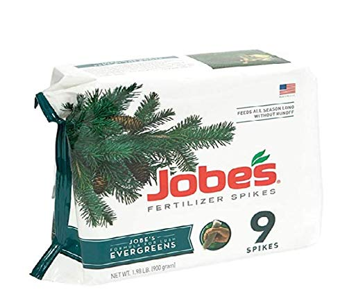 Jobe's Evergreen Fertilizer Spikes 11-3-4 Time Release Fertilizer for Juniper, Spruce, Cypress and All Other Evergreen Trees, 9 Spikes per Package- Pack of 2