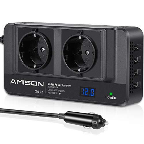 200W KFZ Wechselrichter, Amison Spannungswandler 12V auf 230V mit Smart echtzeitdarstellung LCD, 2 Steckdosen und 4 USB Autoladegerät inkl, Power Inverter für Geschaeftsfahrten und Urlaub