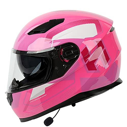 Casco Integral Moto Bluetooth Integrado Casco,ECE Homologado Casco de Motocicleta Casco Scooter con Dobles Visera,Casco Moto Casco Crash para Adultos Mujer y Hombre C,L=59~60cm