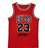 Michael 23# Camiseta de Baloncesto, Top Unisex de Retro clásico, Chaleco sin Mangas (S-XXL) Red-S