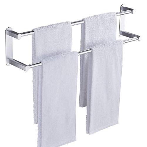 Soporte de toalla de té doble para colgar sobre la puerta del armario de la cocina - Rack de toallas de 41 cm / 16.14 pulgadas: no es necesario perforar, también adecuado como un carril de toallas de