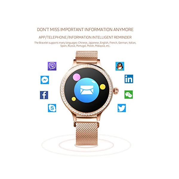 IP68 Fitness Tracker Watch – Smart Watch Bluetooth Podómetro Contador de Pasos Pulsera Inteligente Relojes para Mujeres… 5