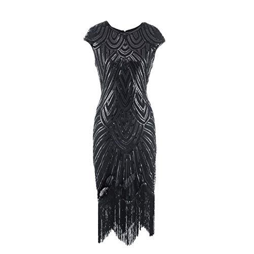 YYH Frauen-Partei-Kleid, 1920S Inspired Fringe Verschönert Gatsby Flapper Midi-Kleid Abschlussball-Cocktail-Abend-Kleid,H,M