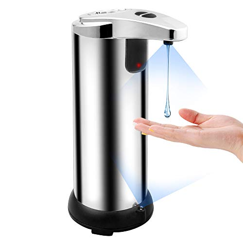 Gosear Soap Dispenser Infrared Motion Sensor Touchless Hands-Free Automatic Liquid Soap Washer Bottle for Bathroom Home Office School