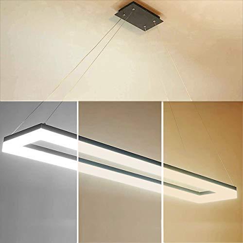 LED Pendelleuchte Büro, Bürolampen Dimmbar Pendellampe, Bürodeckenleuchte, Panellampe mit Fernbedienung, Design Arbeitszimmer Hängeleuchte, Höhenverstellbar, Abhängung 120 cm, 54 Watt