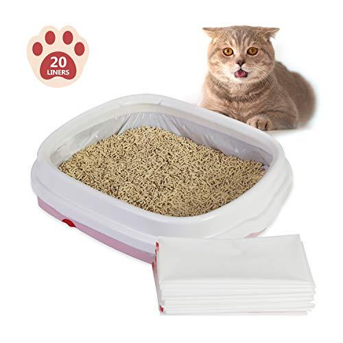 JSVER 20 XL Beutel für Katzentoiletten, Katzentoilettenbeutel Reißfest mit Zugbändern Katzentoiletten Beutel 91.4×48.3cm für Regulär und Extra Große Katzenklo (20 Beutel)