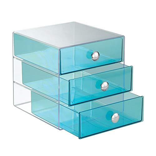 iDesign Drawers Schubladenbox | Schminkbox mit 3 Schubladen zum Sortieren von Make-Up, Schmuck etc. | Schubladen Organizer für Büro- und Bastelbedarf | Kunststoff aqua-blau