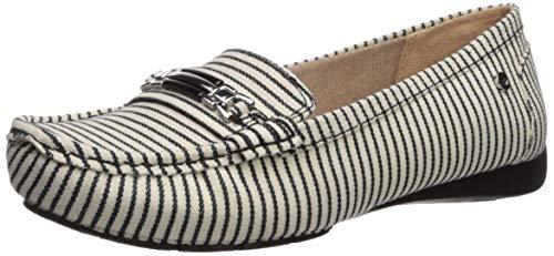 LifeStride Women's Vanity Driving Style Loafer, Black/White, 9.5 W US