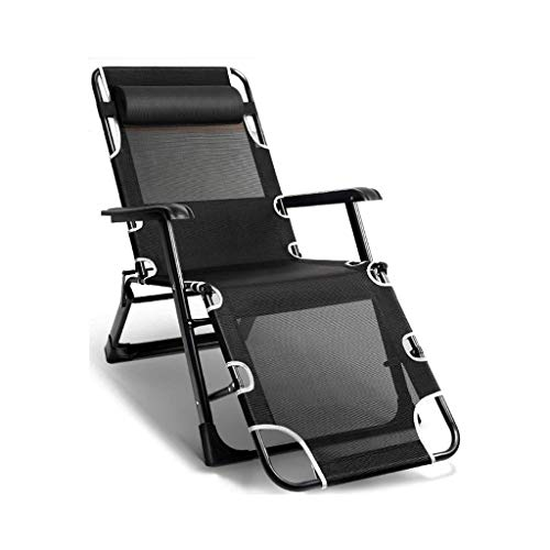N&O Renovation House Folding Sun Lounger Chair Garden Furniture Camping Garden Deck Chairs Zero Gravity Recliner Reclining Waterproof Chaise Loungers Metal for Outdoor Office (Color : Blac