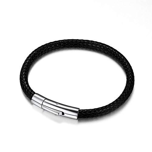 Richsteel Pulsera Cordones Trenzados Negro Hombre Mujer Resistente al Agua 5mm 22cm