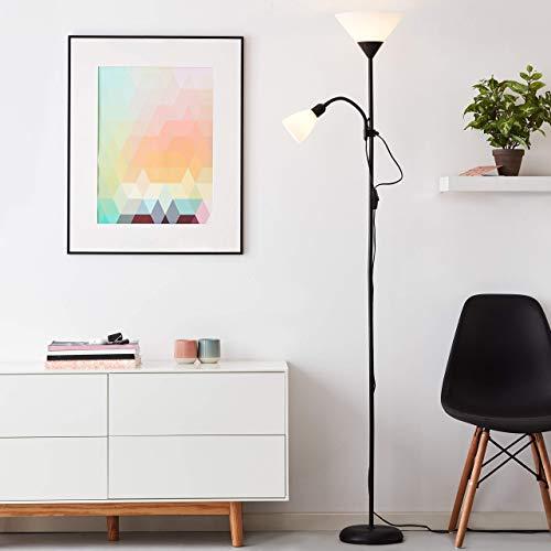 Lámpara de pie sencilla con brazo de lectura, altura 180 cm, E27/E14 máx. 60 W/25 W, aluminio y plástico, negro/blanco.