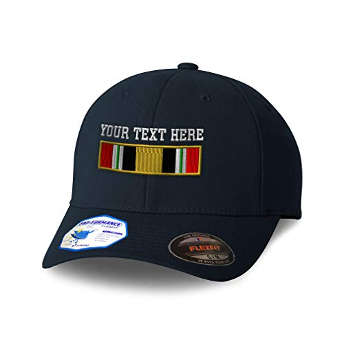 Custom Flexfit Hats for Men & Women Iraq War Veteran Flag Only Embroidery Polyester Dad Hat Baseball Cap Dark Navy Personalized Text Here Small Medium