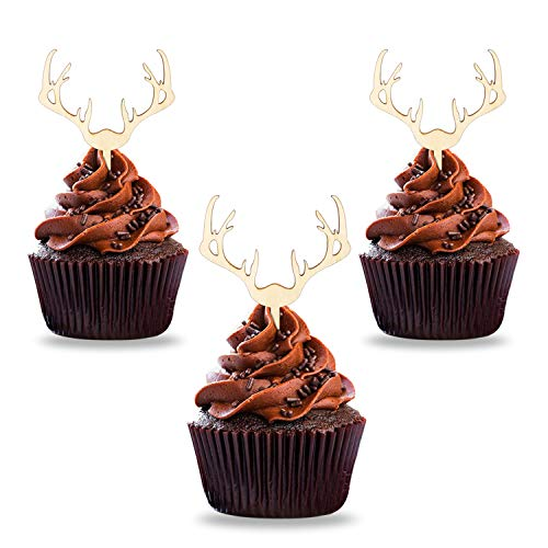 Antler Cupcake Toppers Christmas Wooden Deer Cake Picks Decorations Baby Shower Wedding Hunting Boho Rustic Country Birthday Theme Party Supplies Qty 24