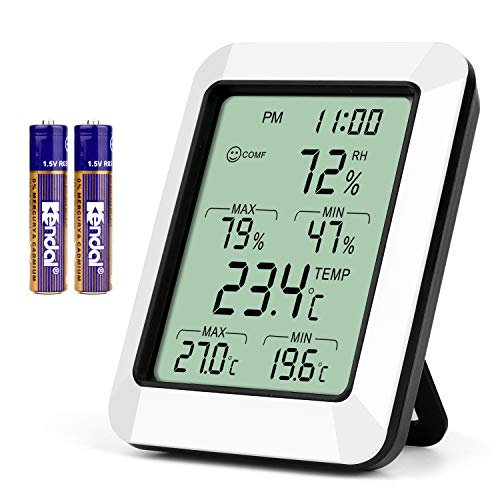 Indoor Hygrometer Thermometer with Alarm Clock Digital Temperature Humidity Meter with Large Screen, Multifunctional Temperature and Humidity Meter Monitor for Home, Office, Bedroom and Greenhouse