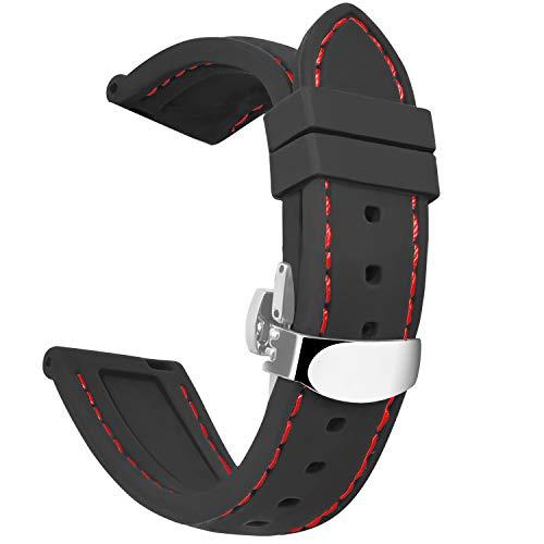 OLLREARUnisex SiliconaCorrea Reloj Hebilla de Mariposa8 Colores 5 Tallas 20mm Negro Rojo