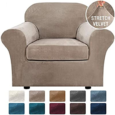 H.VERSAILTEX Rich Velvet Stretch 2 Piece Chair Cover Chair Slipcover Sofa Cover Furniture Protector Couch Soft with Elastic Bottom Chair Couch Cover with Arms, Machine Washable(Chair,Taupe)