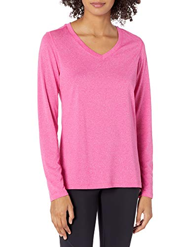 Hanes Women#039s Sport Cool Dri Performance Long Sleeve VNeck Tee Amaranth Heather Small